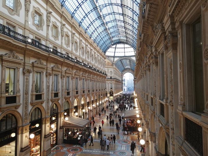Galleria Vittorio Emanuele II a Milano - vista dall'alto